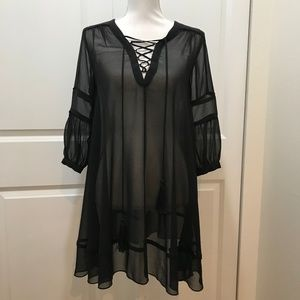 Chelsea28 Sheer Tunic Dress with Tassels